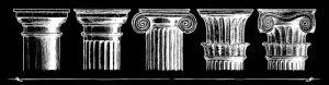 Roman columns on black background or brand design agency header