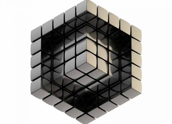 Black 3d cube constructed with the building blocks of brand development