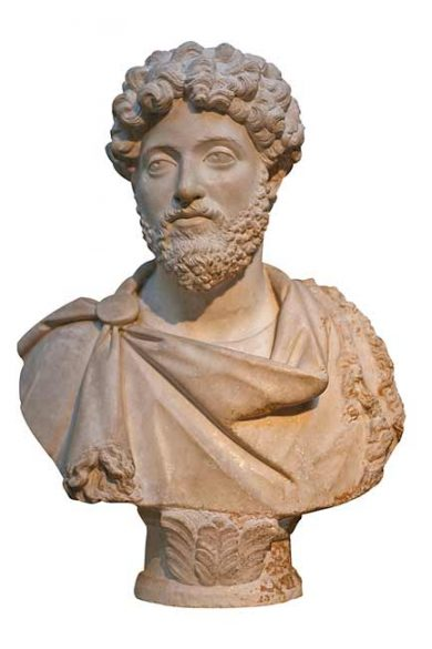 Bust of Marcus Aurelius to represent leadership in a small business brand strategy company