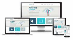 Business website on several devices for a full-service web design company