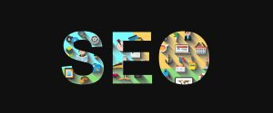 SEO in large letters with various graphics inside for the search engine optimization company