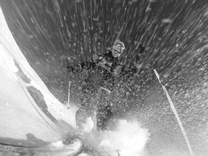 GoPro camera mounted to ski