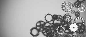 Gears of different sizes for article giving tips for brand development