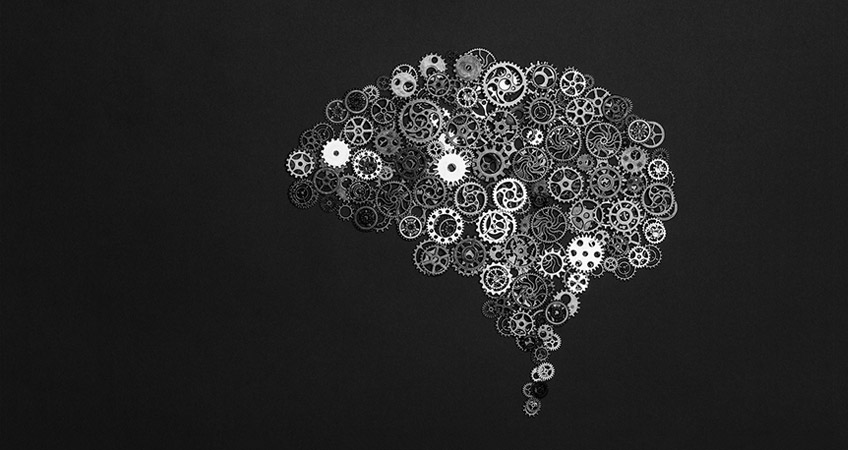 Different gears in the shape of a brain using design thinking
