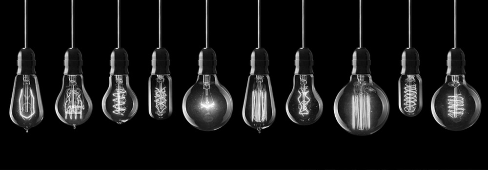 Light bulbs to represent the many ideas needed in the design thinking process