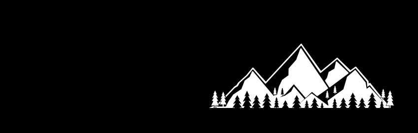 Vector drawing of mountains on black background