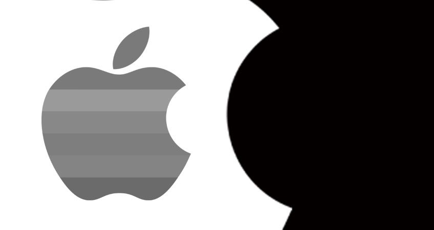 Black and white design concept with apple logo