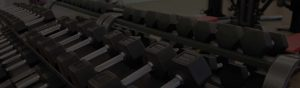 Row of weights for fitness marketing case study in Chicago, Illinois