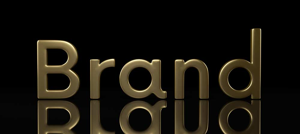 Gold Brand text on black background