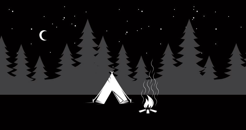 Tent and campfire with forest in background for a story about bad seo